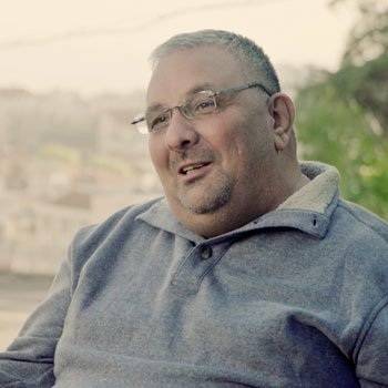 Azar Ajaj being interviewed for Peacemakers: Crossing the Divide in Nazareth