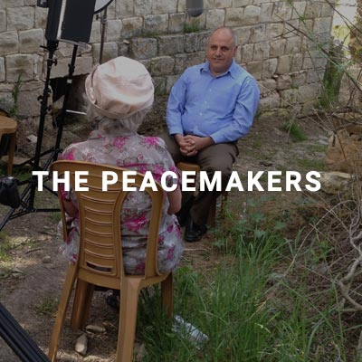 Kathryn Carlton interviewing Maroun Farah in Biram, Northern Israel, for Peacemakers: Crossing the Divide
