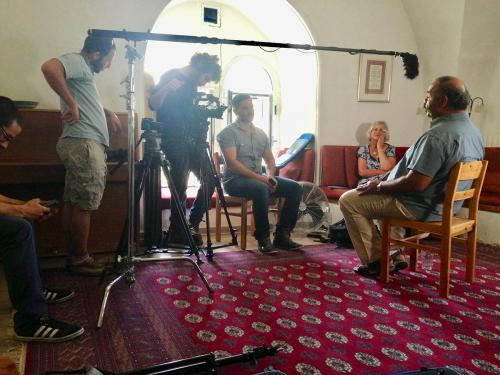 The interview setup with Marcel Rebiai in Jerusalem