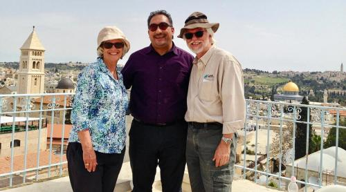 Kathryn and Bob with Jack Sara after his interview in the Old City of Jerusalem.