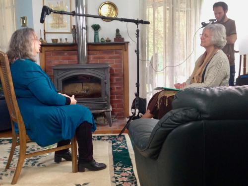 Kathryn interviewing Lisa Loden in her home