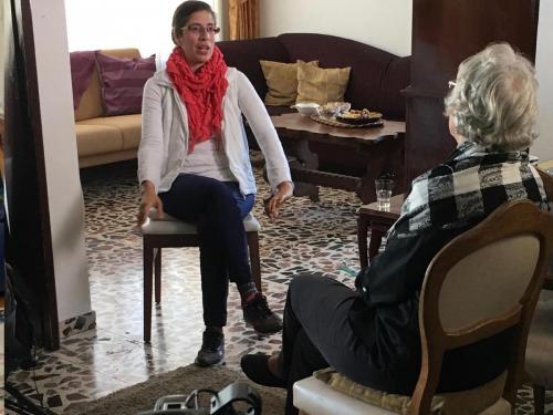 Kathryn interviewing Rajaa Grimberg