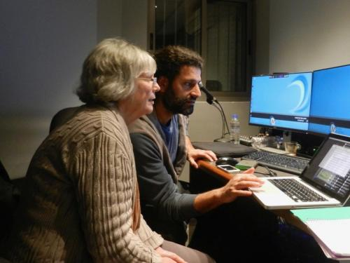 Kathryn working with Assaf, the editor