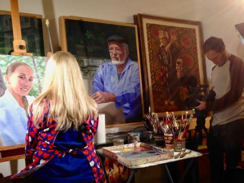 Zvi filming b-roll with Laurel Sternberg