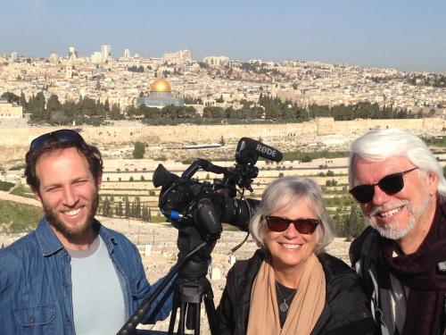 Zvi, the director of photography, with Bob and Kathryn, overlooking the Old City of Jerusalem